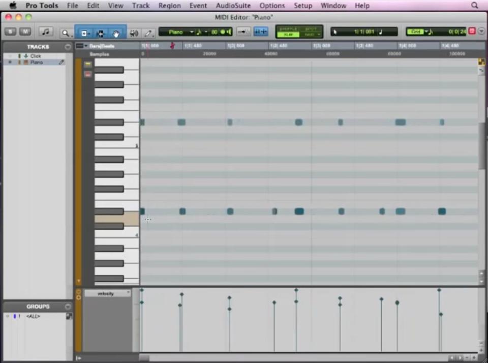 Pro Tools Basics Lesson 07 – MIDI Editing (7 of 13